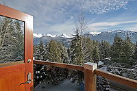 The view from Ravenswood, a private residence in Whistler, looks 180 degrees to the mountains.