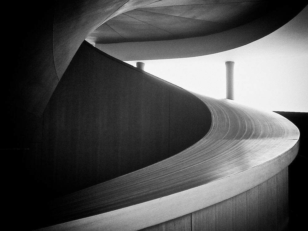 A section of the Frank Gehry Staircase, part of the architecture of the AGO (Art Gallery of Ontario), Toronto, Canada.