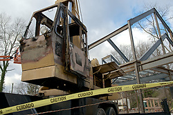 Signs of vandalism are show at the construction site of the Quaker Meeting House in Chestnut Hill.  ..The operating cabin of a construction crane is rendered useless by fire. The crane is parked on the construction site of the future new Quakers Meeting House in Chestnut Hill. <br />