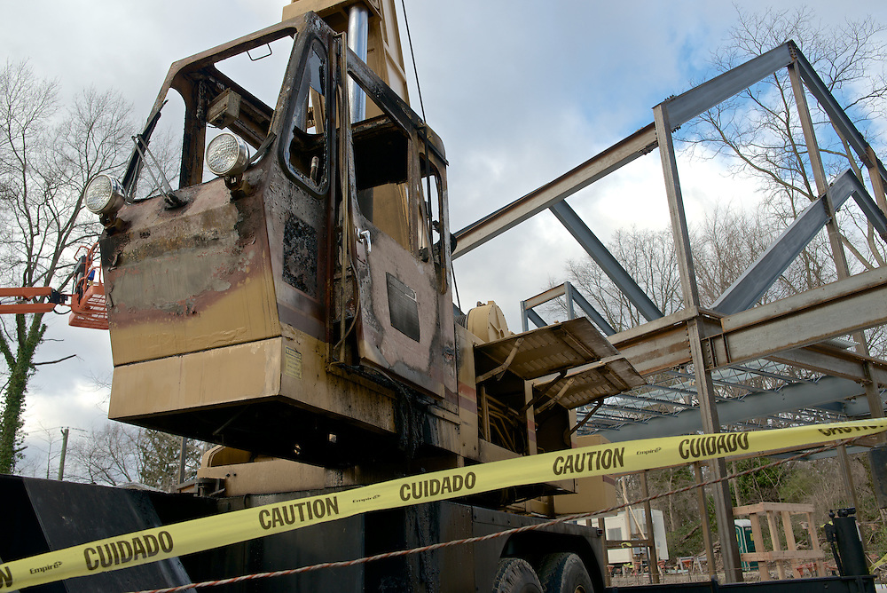 Signs of vandalism are show at the construction site of the Quaker Meeting House in Chestnut Hill.  ..The operating cabin of a construction crane is rendered useless by fire. The crane is parked on the construction site of the future new Quakers Meeting House in Chestnut Hill. <br /> <br /> (Access to additional material on request)