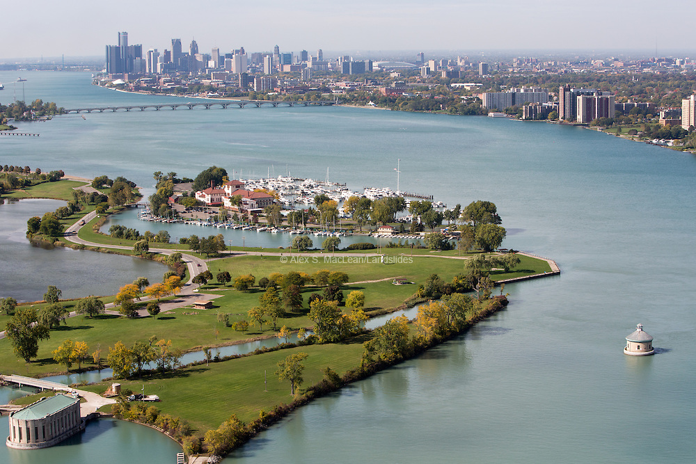 Belle Isle and the Detroit Yacht Club looking west over the Detroit River to downtown