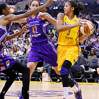 24 July 2014: Los Angeles Sparks forward/center Candace Parker (3) drives past Phoenix Mercury center Brittney Griner (42) during the Phoenix Mercury 93-73 victory over the Los Angeles Sparks, at the Staples Center, Los Angeles, California, USA.