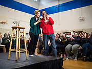 19 JANUARY 2020 - DES MOINES, IOWA: US Senator ELIZABETH WARREN (D-MA) Facetimes with JASON KLOKKENGA and his mother in law during a campaign event in Des Moines Sunday. Klokkenga is a public school teacher. With just two weeks to go before the Iowa Caucuses, Sen. Warren is campaigning in the Des Moines area this weekend to support her effort to be the Democratic nominee for the US presidential race in 2020. Iowa traditionally hosts the first presidential selection event of the campaign season. The Iowa caucuses are Feb. 3, 2020.          PHOTO BY JACK KURTZ