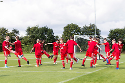 WREXHAM, WALES - Tuesday, August 13, 2019: Wales' players during the pre-match warm-up before the UEFA Under-15's Development Tournament match between Wales and Cyprus at Colliers Park. (Pic by Paul Greenwood/Propaganda)