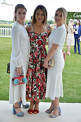 Lady Violet Manners, Viscountess Weymouth and Lady Kitty Spencer at Cartier Queen's Cup Polo, Guard's Polo Club, Berkshire, England. 18 June 2017.<br /> Photo by Dominic O'Neill/SilverHub 0203 174 1069 sales@silverhubmedia.com
