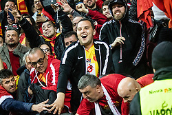 Fans of Macedonia celebrate after football match between National teams of Slovenia and North Macedonia in Group G of UEFA Euro 2020 qualifications, on March 24, 2019 in SRC Stozice, Ljubljana, Slovenia.  Photo by Matic Ritonja / Sportida