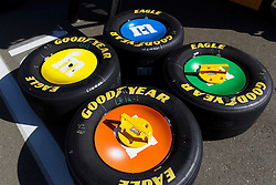 June 26, 2011; Sonoma, CA, USA;  General view of Goodyear racing tires belonging to Sprint Cup Series driver Kyle Busch (not pictured) before the Toyota/Save Mart 350 at Infineon Raceway.