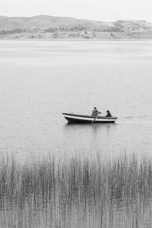 South America; Peru; Lake Titicaca, boat, indian, native