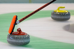 During curling match between National teams of Slovenia and Lithuania in 6th Round of European Curling Championship on April 29, 2016 in Ledena dvorana Zalog, Ljubljana, Slovenia. Photo By Urban Urbanc / Sportida