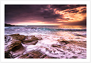 An overcast, but colourful start to a summer morning at the northern end of Maroubra Beach [Maroubra, NSW, Australia]<br />