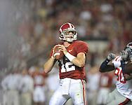 Alabama quarterback Greg McElroy (12) passes at Bryant-Denny Stadium in Tuscaloosa, Ala.  on Saturday, October 16, 2010. Alabama won 23-10.