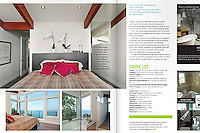 From a feature shot for Boulevard Magazine, this spread showcases the open master bedroom with an ocean view.
