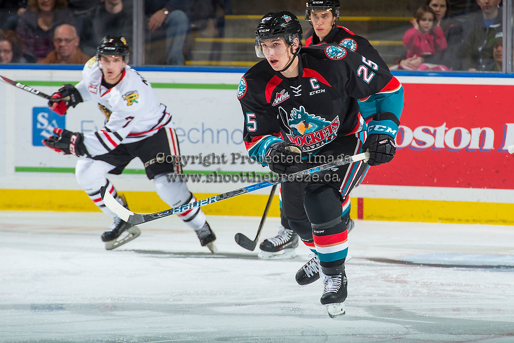 KELOWNA, CANADA - OCTOBER 20: Cal Foote #25 of the Kelowna Rockets skates against the Portland Winterhawks on October 20, 2017 at Prospera Place in Kelowna, British Columbia, Canada.  (Photo by Marissa Baecker/Shoot the Breeze)  *** Local Caption ***