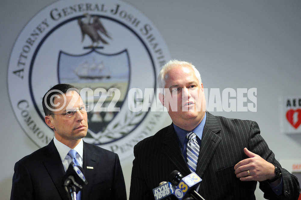 Bucks County District Attorney Matt Weintraub (right) and Pennsylvania Attorney General Josh Shapiro (left) speak with the media after 5 arrests in a child sexual predator ring during a news conference announcing the arrests of Sunday, January 29, 2017 in Warminster, Pennsylvania. (WILLIAM THOMAS CAIN / For The Philadelphia Inquirer)