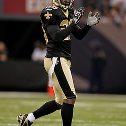 2009 November 30: New Orleans Saints defensive back Chris McAlister (29) reacts to a play during a 38-17 win by the New Orleans Saints over the New England Patriots at the Louisiana Superdome in New Orleans, Louisiana.