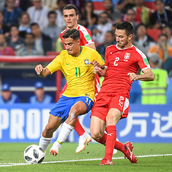 Philippe Coutinho of Brazil and Antonio Rukavina of Serbia during the FIFA World Cup Group E match between Serbia and Brazil on June 27, 2018 in Moscow, Russia. (Photo by Anthony Dibon/Icon Sport)