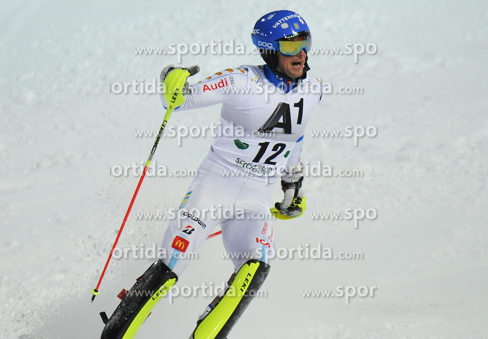 27.01.2015, Planai, Schladming, AUT, FIS Weltcup Ski Alpin, Schladming, Herren, Slalom, 2. Lauf, im Bild Markus Larsson of Sweden // during the 2nd run of the men' s slalom of Schladming FIS Ski Alpine World Cup at the Planai in Schladming, Austria on 2015/01/27. EXPA Pictures © 2015, PhotoCredit: EXPA/ Erich Spiess