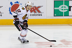 Feb 10, 2012; San Jose, CA, USA; Chicago Blackhawks right wing Michael Frolik (67) warms up before the game against the San Jose Sharks at HP Pavilion. San Jose defeated Chicago 5-3. Mandatory Credit: Jason O. Watson-US PRESSWIRE