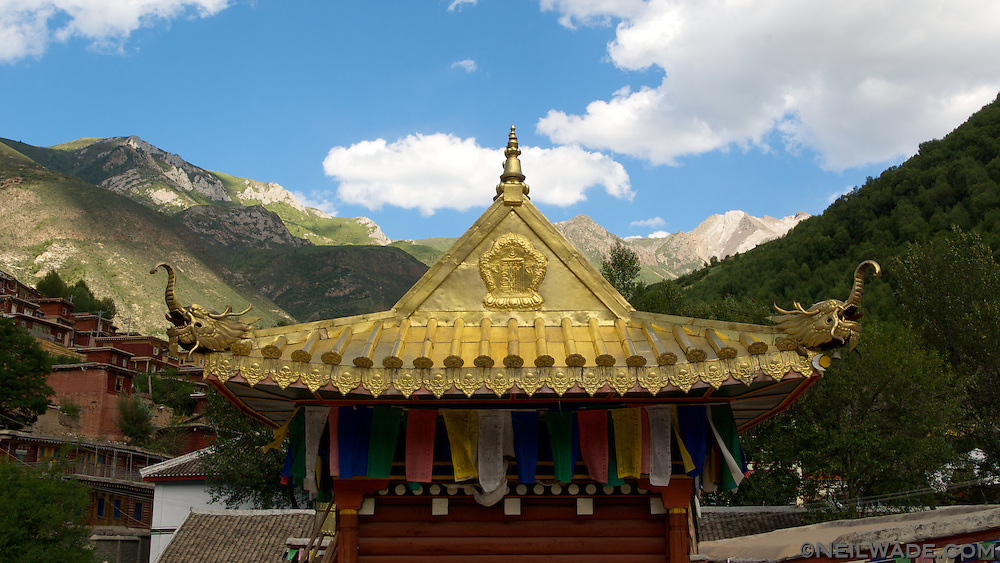 The roof of the Barkhang (Parkhang) Printing Press in Dege, Tibet.