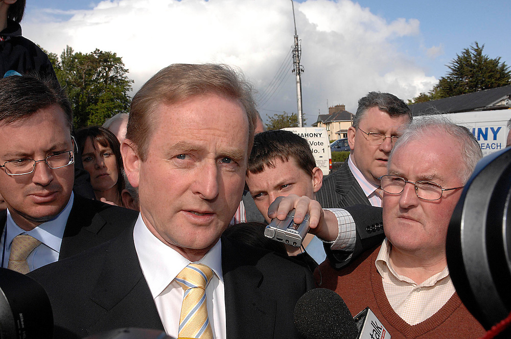 Enda Kenny speaks with the media on his arrival at the Mayo Count Centre, TF Royal Castlebar. Pic: Michael Mc Laughlin