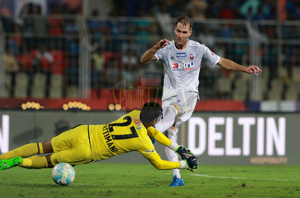 FC Goa goalkeeper Laximikanth Kattimani dives to save a goal during match 8 of the Indian Super League (ISL) season 3 between FC Goa and FC Pune City held at the Fatorda Stadium in Goa, India on the 8th October 2016.<br /> <br /> Photo by Vipin Pawar / ISL/ SPORTZPICS
