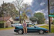 Charles English, who was working at the Texas Petroleum Chemical  plant  during the shift just before the explosion expressed thanks that he was not there later, because if he had been he could be dead now.  He hopes things get back to normal soon, so he can get back to work. The plume from the TCP  plant, on fire the day after multiple explosions rocked the plant, seen near homes that are 1/2 mile from the plant