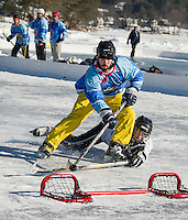 Tyler Markley of the Ice Holes goes for the net during the semi final round with The Fifth Line in the Twig division on Sunday.  (Karen Bobotas/for the Laconia Daily Sun)