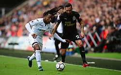 Renato Sanches of Swansea City Battles for the ball with Jesus Gamez of Newcastle United - Mandatory by-line: Alex James/JMP - 10/09/2017 - FOOTBALL - Liberty Stadium - Swansea, England - Swansea City v Newcastle United - Premier League