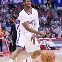24 March 2014: Los Angeles Clippers guard Chris Paul (3) passes the ball during the Los Angeles Clippers 106-98 victory over the Milwaukee Bucks at the Staples Center, Los Angeles, California, USA.