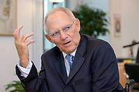 06 NOV 2019, BERLIN/GERMANY:<br /> Wolfgang Schaeuble, CDU, Bundestagspraesident, waehrend einem Interview, in seinem Buero, Reichstagsgebaeude, Deutscher Bundestag<br /> IMAGE: 20191106-02-023<br /> KEYWORDS: Wolfgang Schäuble