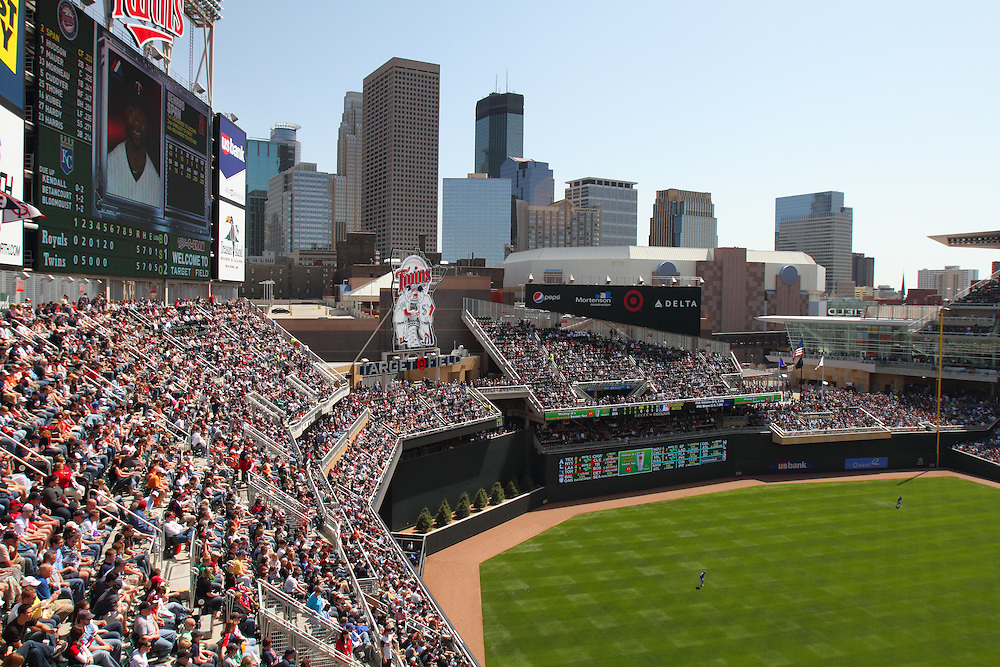 First weekend day game in the brand new Minnesota Twins stadium, Target Field, Minneapolis, Minnesota.