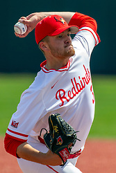 NORMAL, IL - May 01: Colton Johnson during a college baseball game between the ISU Redbirds and the Indiana State Sycamores on May 01 2019 at Duffy Bass Field in Normal, IL. (Photo by Alan Look)