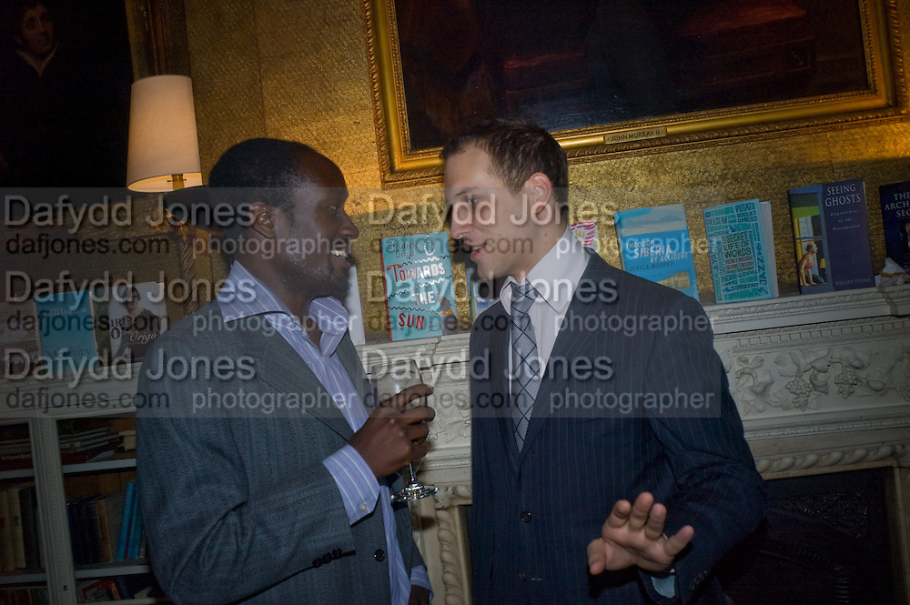 MUSA OKWONGA AND LORD FREDDIE WINDSOR. Book launch for 'In search of the English Eccentric' by Henry Hemming. 50 Albermarle St. London. W1S 4BD *** Local Caption *** -DO NOT ARCHIVE-© Copyright Photograph by Dafydd Jones. 248 Clapham Rd. London SW9 0PZ. Tel 0207 820 0771. www.dafjones.com.