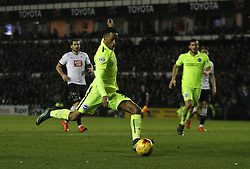 Rajiv van La Parra scores his sides second goal - Mandatory byline: Jack Phillips / JMP - 07966386802 - 12/12/2015 - FOOTBALL - The iPro Stadium - Derby, Derbyshire - Derby County v Brighton & Hove Albion - Sky Bet Championship