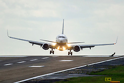 © Licensed to London News Pictures. 28/06/2020. Leeds UK. A Ryanair jet arriving from Alicante struggles to land in strong winds this morning at Leeds Bradford International airport as the Met Office issues a Yellow weather warning for Yorkshire. Photo credit: Andrew McCaren/LNP