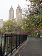 The running track around the reservoir in Central Park with a view of the towers of the El Dorado apartment building