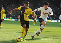 Football - 2019 / 2020 Premier League - Watford vs. Tottenham Hotspur<br /> <br /> Adrian Mariappa of Watford and Son Heung - Min of Tottenham, at Vicarage Road.<br /> <br /> COLORSPORT/ANDREW COWIE
