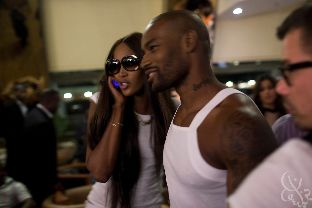 Super models Naomi Campbell and Tyson Beckford walk together through the Hilton lobby on their way to the 3rd annual ThisDay fashion and music festival July 11, 2008 in Abuja, Nigeria.  The annual festival is designed to raise awareness of African issues while promoting positive images of Africa using music, fashion and culture in a series of concerts and events in Nigeria, the United States and the United Kingdom. .