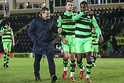 Forest Green Rovers manager, Mark Cooper, Forest Green Rovers Christian Doidge(9) and Forest Green Rovers Dale Bennett(2) during the EFL Sky Bet League 2 match between Forest Green Rovers and Stevenage at the New Lawn, Forest Green, United Kingdom on 13 February 2018. Picture by Shane Healey.