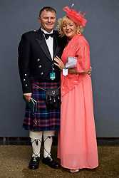 LIVERPOOL, ENGLAND - Thursday, April 6, 2017: Callum, wearing traditional Scottish kilt and sporran and wife Janice from Skelmsersdale, during The Opening Day on Day One of the Aintree Grand National Festival 2017 at Aintree Racecourse. (Pic by David Rawcliffe/Propaganda)