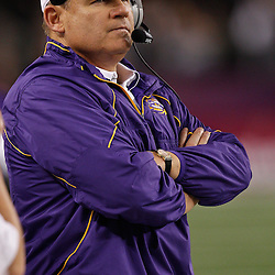 Jan 7, 2011; Arlington, TX, USA; LSU Tigers head coach Les Miles against the Texas A&M Aggies during the fourth quarter of the 2011 Cotton Bowl at Cowboys Stadium. LSU defeated Texas A&M 41-24.  Mandatory Credit: Derick E. Hingle