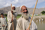 Returnees build and cultivate fish ponds as part of a joint WFP-UNHCR project, on September 7, 2008, Batikot, Afghanistan. The project is to help establish as sustainable food and income source.
