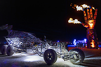 Henry Chang's Flux Capacitor Mutant vehicle and I.L.Y<br /> by: Dan Mountain<br /> from: Portola Valley, CA<br /> year: 2019<br /> <br /> A 27 foot forearm and hand, fabricated from engineered steel, recycled and repurposed scrap metal meant to engage participants in various visual, physical, and emotional ways. Housing an internal armature of chains, gears, sprockets, and springs, the involvement of participants allows the fingers and parts of the hand to bring the sculpture to its full realization.<br /> <br /> The intention of ILY is to encourage communication, collaboration, and eagerness to work together.<br /> <br /> Contact: ilyproject2019@gmail.com