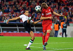 MOSCOW, RUSSIA - Tuesday, September 26, 2017: Liverpool's Trent Alexander-Arnold and FC Spartak Moscow's Mario Pašalić during the UEFA Champions League Group E match between Spartak Moscow and Liverpool at the Otkrytie Arena. (Pic by David Rawcliffe/Propaganda)