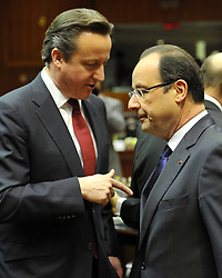 French President Francois Hollande (R) talks with British Prime Minister David Cameron ahead of the second day s EU summit meeting at EU headquarters in Brussels, capital of Belgium, March 15, 2013. Photo by Imago / i-Images...UK ONLY.Contact..