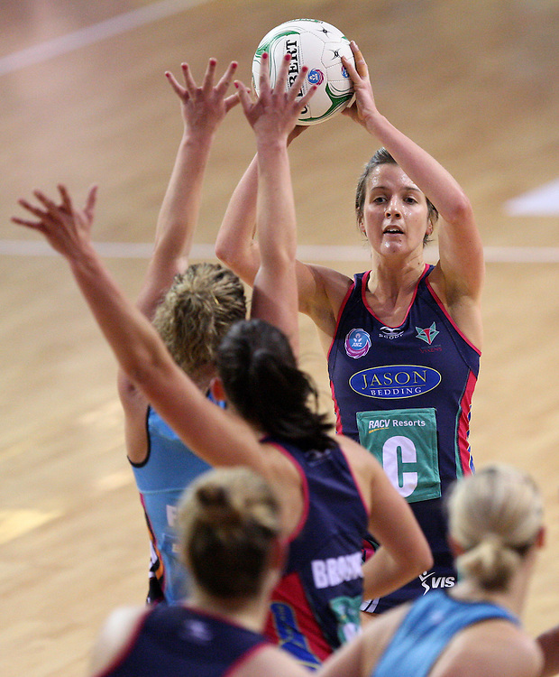 Vixens Chelsey Tregar looks to pass the ball against the Steel in the ANZ Championship netball match at Invercargill Velodrome, Invercargill, New Zealand, Saturday, June 30, 2012. Credit:SNPA / Dianne Manson