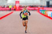 Sonia Samuels (Great Britain) approaching the finish line in the Virgin Money 2019 London Marathon, London, United Kingdom on 28 April 2019.