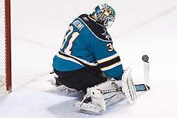 January 8, 2011; San Jose, CA, USA; San Jose Sharks goalie Antti Niemi (31) makes a save off his stick against the Nashville Predators during the first period at HP Pavilion. Nashville defeated San Jose 2-1. Mandatory Credit: Jason O. Watson / US PRESSWIRE