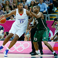 06 August 2012: Nigeria Derrick Obasohan defends on France Boris Diaw during 79-73 Team France victory over Team Nigeria, during the men's basketball preliminary, at the Basketball Arena, in London, Great Britain.