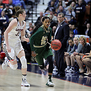 Courtney Williams, (right), USF, defended by Katie Lou Samuelson, UConn, during the UConn Huskies Vs USF Bulls 2016 American Athletic Conference Championships Final. Mohegan Sun Arena, Uncasville, Connecticut, USA. 7th March 2016. Photo Tim Clayton
